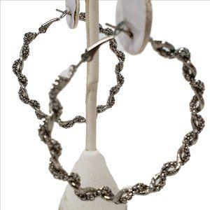 "UNBRANDED Jewelry - Twisted Silver 2-1/2"" Hoop Earrings"